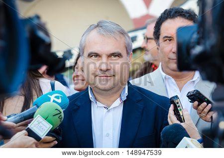 Badajoz Spain - September 23 2016: Badajoz City Mayor Francisco Javier Fragoso Martinez speaks in celebration of Almossassa Badajoz Extremadura Spain