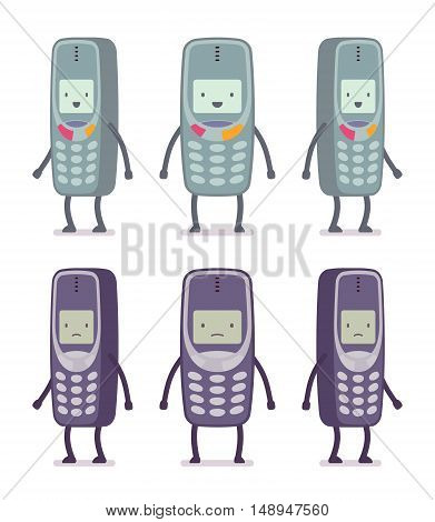 Set of happy and unhappy retro cell phones from different positions with legs and hands isolated against white background. Cartoon vector flat-style illustration