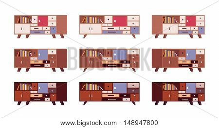 Set of retro sideboards with drawers and bookshelves isolated against white background. Cartoon vector flat-style illustration