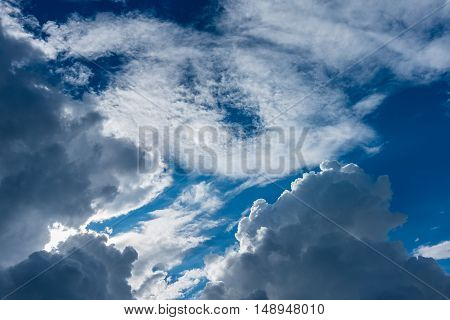 Blue Sky And White Clouds On Day Time.