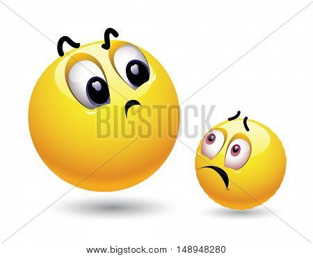 Big dominant smiley looking at small smiley with authority. Relation between dominant and inferior smileys.