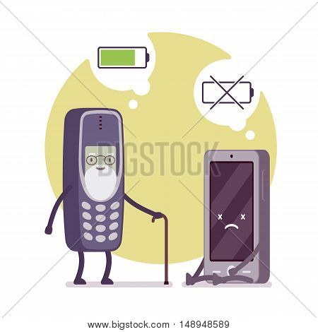 Charged phone and dead smartphone, battery status in a cloude. Cartoon vector flat-style concept illustration