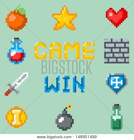 Pixel games icons for web, app or video game interface. Object for game heart bottle and fruit, set of gaming pixel objects. Vector illustration