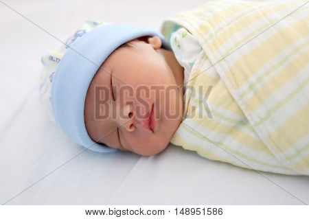 baby was sleeping on the mattressconcept of healthy sleep and rest enough.