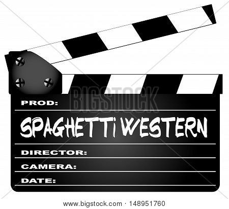 A typical movie clapperboard with the legend spaghetti western Movies isolated on white.