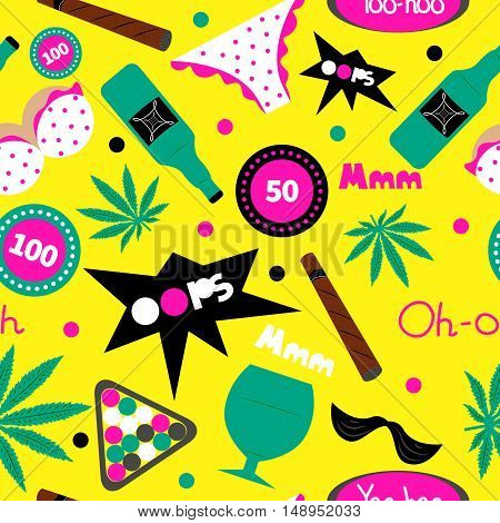 Pop art fashion seamless pattern. Vector cannabis, cigar, alcohol bottle, underwear, chips. Men's leisure, holiday, entertainment, vacation, summer party in hawaii. Design for textiles t-shirts