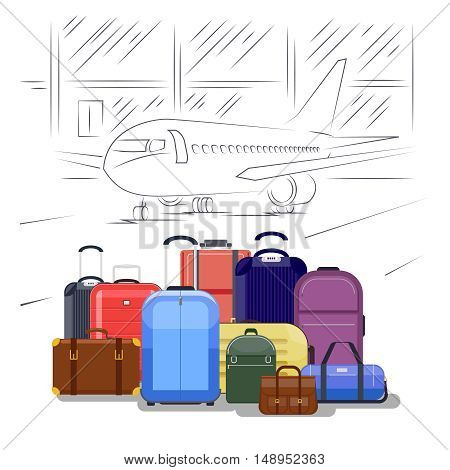 Airport luggage vector illustration. People travel background. Baggage and luggage for vacation, pile luggage at airport