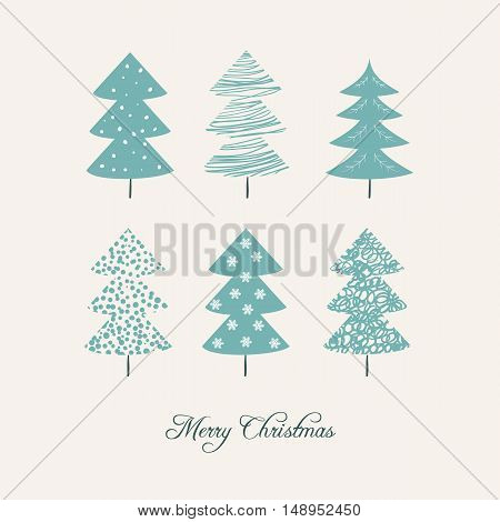 Christmas card with christmas trees. Vector Illustration. Design for poster card invitation placard brochure flyer.