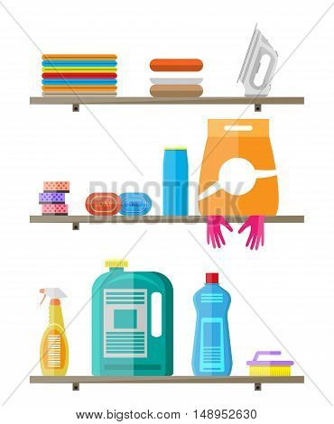 Household products on plastic shelves. cleaning products in bottles for floor and glass, rubber gloves, sponge, soap, iron, clothes, powder. vector illustration in flat style on white
