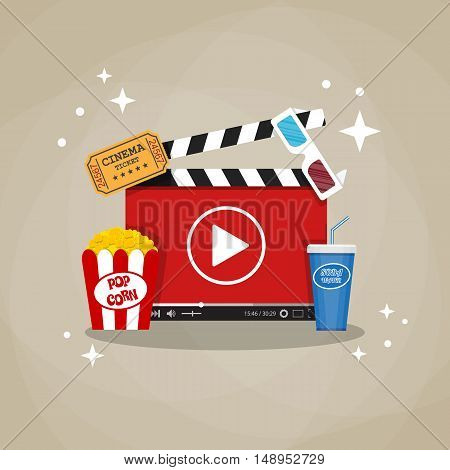 Online home cinema concept. cinema clapperboard with running online video player, soda water in glass, popcorn and 3d stereo glasses, retro cinema ticket. vector illustration in flat style.
