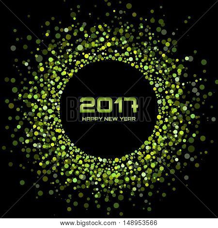 Green Bright New Year 2017 on black Background.  Glowing green confetti circle new year frame. Green shining circle background. Vector illustration