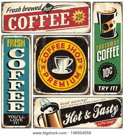 Coffee shop retro metal signs collection. Vintage coffee label templates.