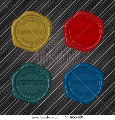 Different color Confidential Wax Seals embossed version