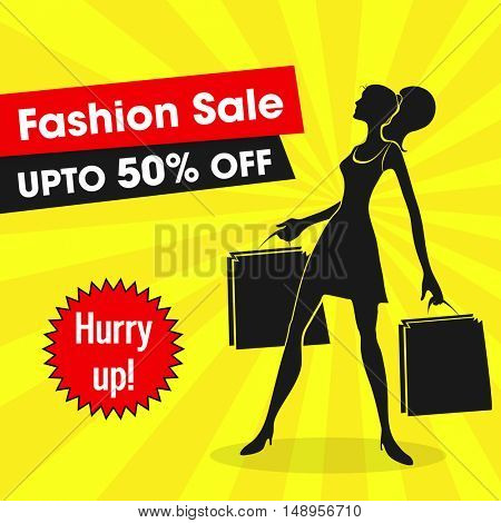 Fashion Sale with 50% Discount Offer, Poster, Banner, Flyer or Pamphlet with silhouette of a young Girl holding Shopping Bags.