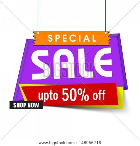 Colorful hanging, Special Sale Poster, Banner, Board or Pamphlet with Discount upto 50% Off. Shop Now.