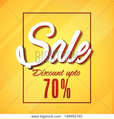 Sale with Discount Upto 70% Off, Yellow creative Poster, Banner, Flyer or Template design.