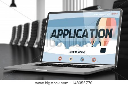 Application - Landing Page with Inscription on Mobile Computer Display on Background of Comfortable Meeting Room in Modern Office. Closeup View. Toned Image. Blurred Background. 3D Illustration.