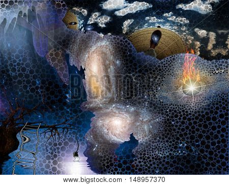 Surreal painting. Salvador Dali style.  3D Render  Some elements provided courtesy of NASA