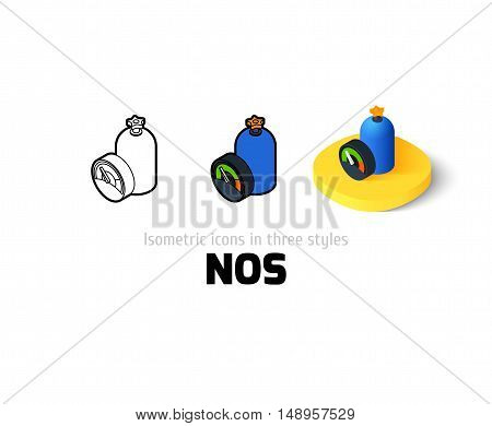 NOS icon, vector symbol in flat, outline and isometric style