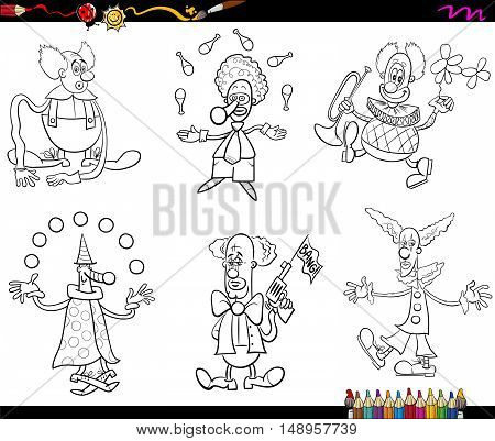 Circus Clowns Set Coloring Book
