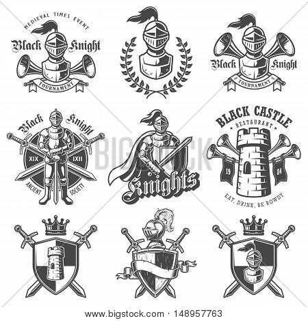 Set of monochrome knights emblems, badges, labels and logos. On white background