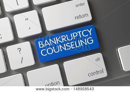 Bankruptcy Counseling Concept Modernized Keyboard with Bankruptcy Counseling on Blue Enter Button Background, Selected Focus. 3D Illustration.