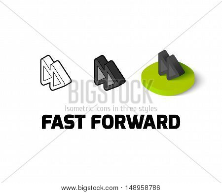 Fast forward icon, vector symbol in flat, outline and isometric style