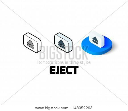 Eject icon, vector symbol in flat, outline and isometric style