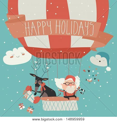 Cartoon winter holidays greeting card with Santa Claus flying in a hot air balloon with reindeer