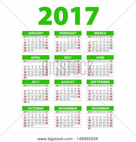 2017 Calendar Or Desk Planner, 12 Month Set Green