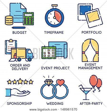 Vector modern stylish flat linear icons set of event management event service and special event organization for app and web design navigation - part 2
