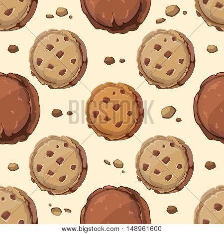Cookies vector seamless pattern. Cookie sweet food, dessert cookie food, cookie background illustration