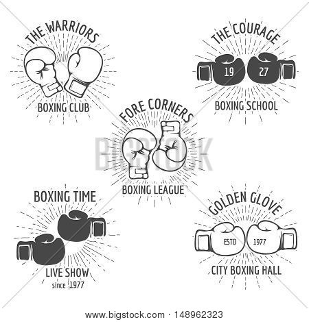Vintage boxing logo set. Logo boxing, sport badge logo, boxing club logo. Vector illustration