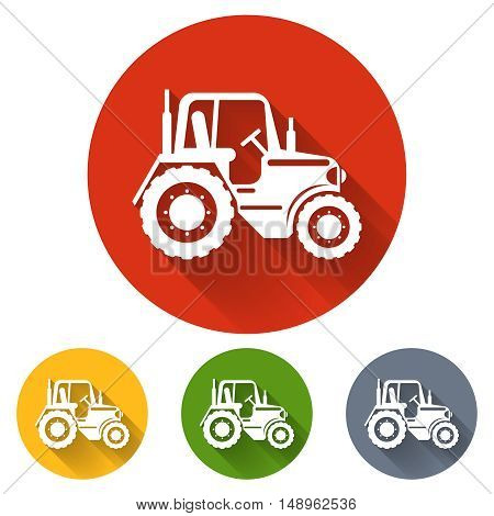 Flat tractor icon. Tractor transport, vehicle tractor, agriculture machinery tractor, farming tractor illustration