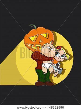 Halloween Pumpkin Man Jack-o'-lantern hugs cute afraid children with plush panda. Dark night with flashlight - hand drawn rasterized copy
