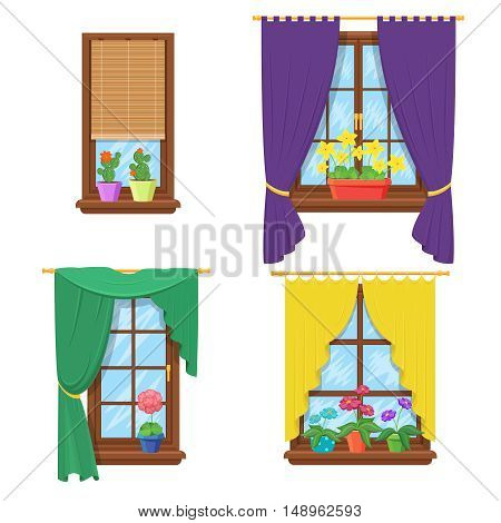 Windows with curtains and flowers. Window with flower, curtain house, glass construction. Vector illustration set