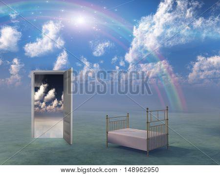 Bed in fantasy landscape  3D Render