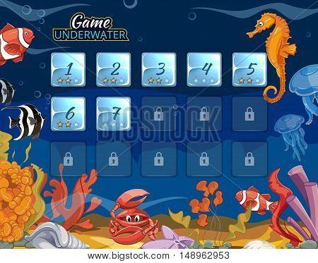 Submarine computer game with user interface. Sea and ocean interface, underwater interface, level interface aquarium bottom. Vector illustration