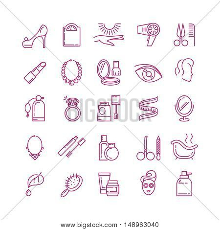 Vector cosmetics line icons. Cosmetic perfume, lipstick cosmetic, powder outline cosmetic icon illustration