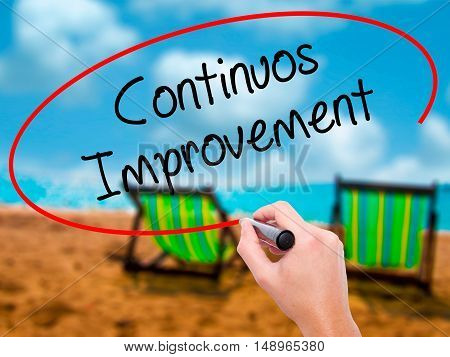 Man Hand Writing Continuos Improvement With Black Marker On Visual Screen