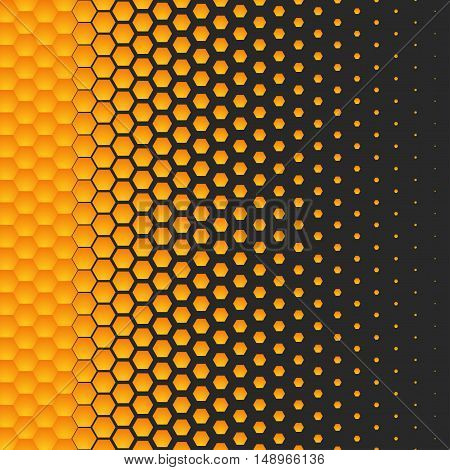 Background in the form of yellow honeycomb shrinking in size with each step