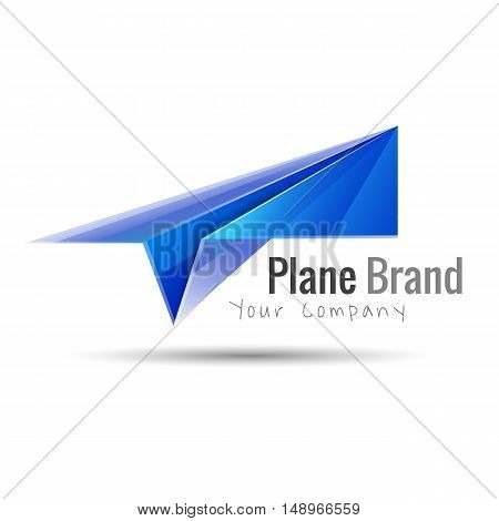 Paper plane logo design idea. Origami toy symbol. Transparent modern style illustration. Travel fly icon. Creative colorful abstract vector. Template for your business company.