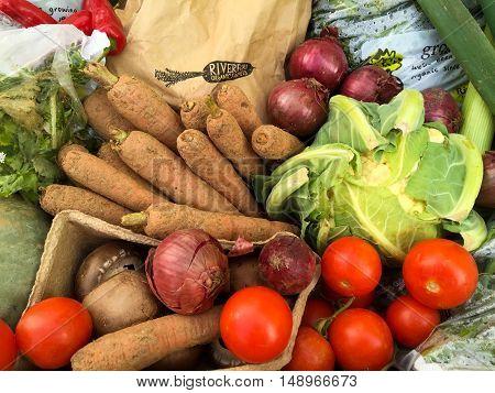 NOTTINGHAM ENGLAND - SEPTEMBER 24: Fresh organic vegetables on a market stall called ' Live life on the veg' in Market Square Nottingham City Centre. In Nottingham England. On 24th September 2016.