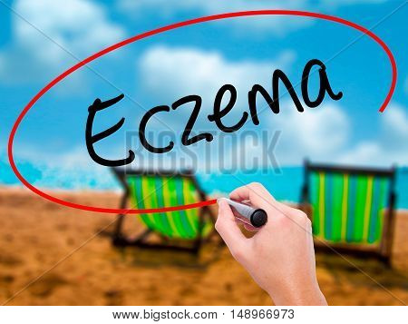 Man Hand Writing Eczema With Black Marker On Visual Screen