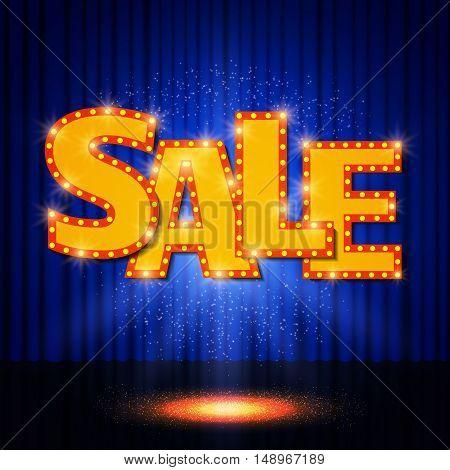 Shining Sale On Blue Curtain
