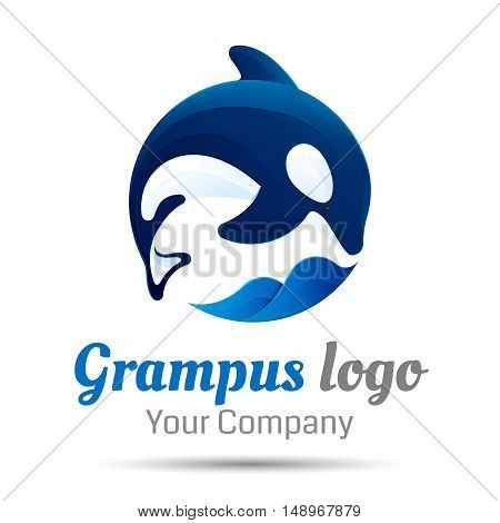Killer whale. Jumping over sea wave. Vector logo design illustration. Template for your business company. Creative abstract colorful concept.