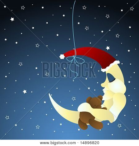 Moon and teddy, baby greeting card