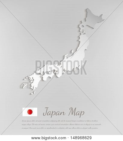 Japan map white card paper 3D vector.