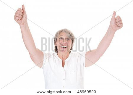 Old age woman showing thumbs up with both hands