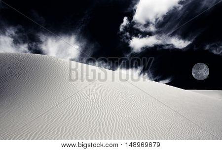 White Sands New Mexico Desert Very Dark Sky
